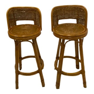 Mid Century Modern Woven Rattan Barstools- a Pair For Sale