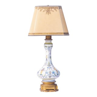 Vintage Italian Hand Painted Porcelain Bronze Mounted Lamp For Sale