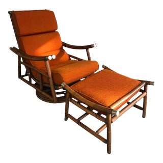 1960s Vintage Ficks Reed Swivel Chair & Ottoman For Sale