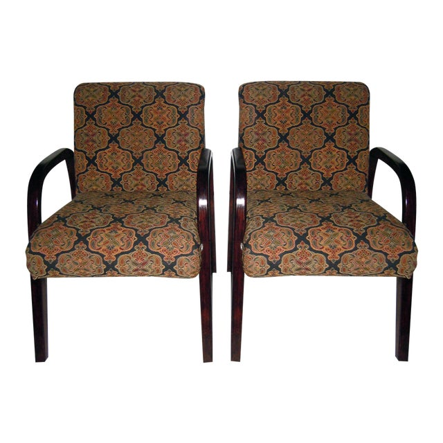 Cherry Wood Mid-Century Armchairs - A Pair - Image 1 of 7