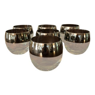 Silver Rimmed Roly Poly Glasses - Set of 7 For Sale