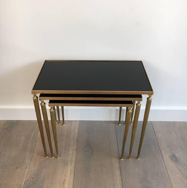 Set Of Black Glass And Brass Nesting Tables In The Style Of Maison Jansen    Image