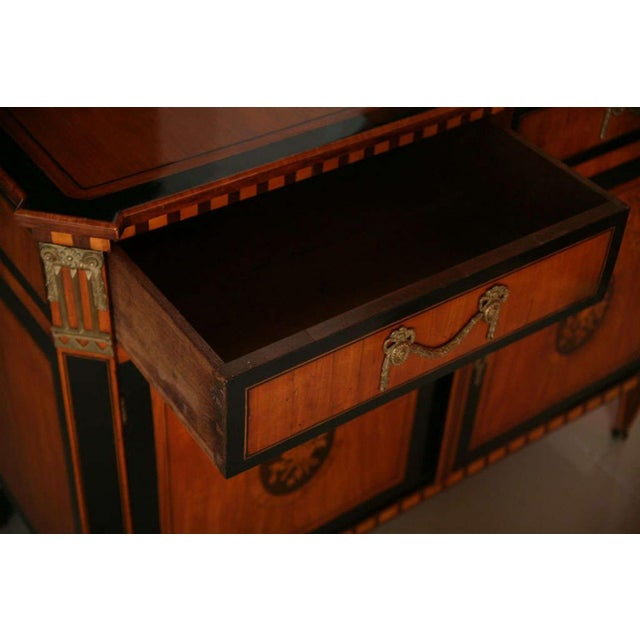 Gold Dutch Neoclassic Sycamore, Ebonized Marquetry Credenza For Sale - Image 8 of 9