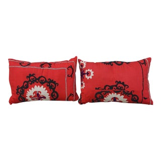 20th Century Turkish Red & Black Pillows - a Pair For Sale