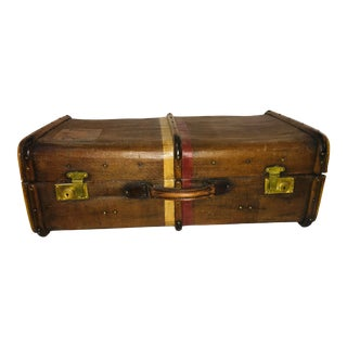 1940s Vintage Wood Canvas & Leather English Trunk For Sale