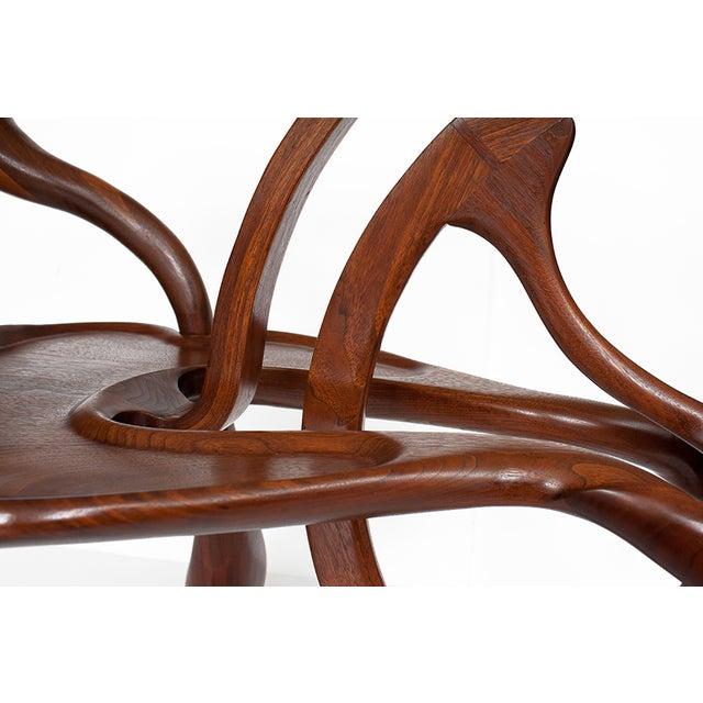 Vintage Studio Sculptural Carved Walnut Bar Cart - Image 8 of 10