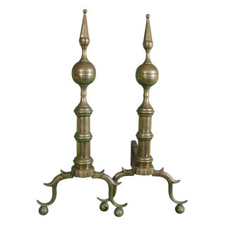 Circa 1800 Brass Andirons - A Pair For Sale