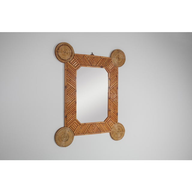 1970s 1970s Bamboo and Rattan Mirror by Arpex For Sale - Image 5 of 9