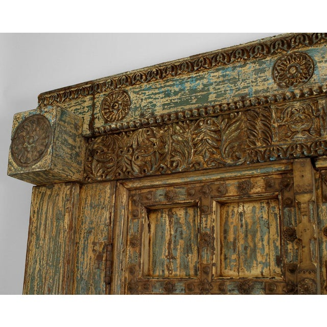 Asian Blue & White Distressed Painted and Carved Pair of Doors in a Frame For Sale In New York - Image 6 of 8