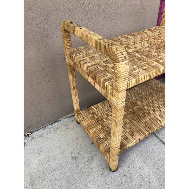 Vintage Rattan Two Shelves Rolling Drinks Cart For Sale In Miami - Image 6 of 8