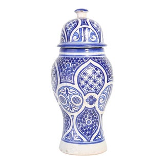 Moroccan Moorish Ceramic Blue and White Urn from Fez For Sale