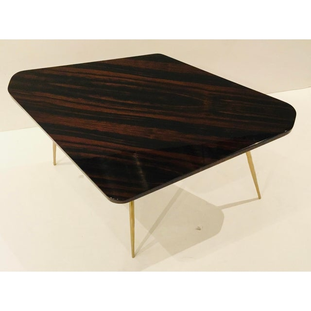 Original retail $2340, stylish yet classical Caracole Signature modern macassar ebony lacquer finished and textured brass...