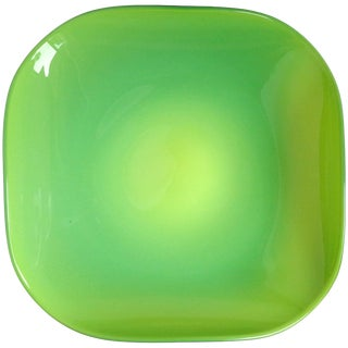 Murano Bright Green Squared Italian Art Glass Center Bowl, Made in Italy Label For Sale