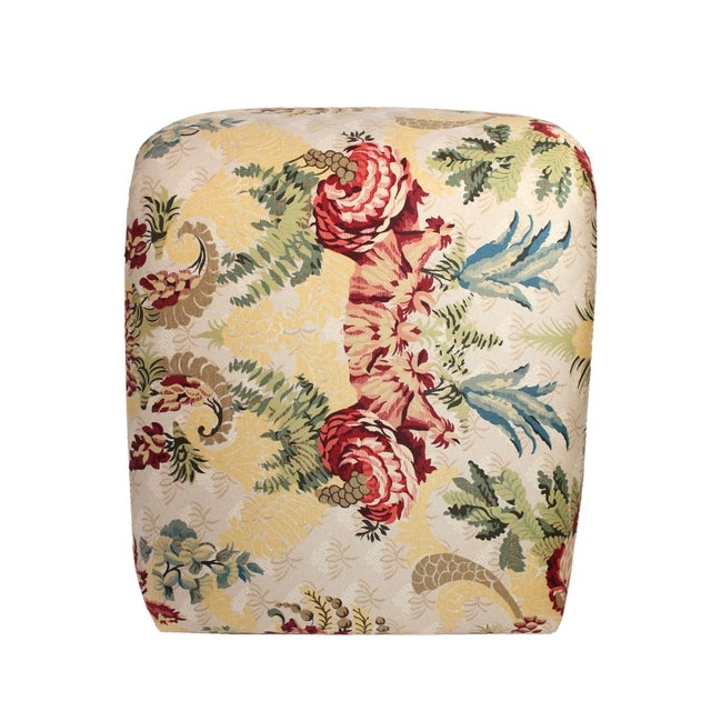 "Hollywood Regency Scalamandre's ""Duchessa"" Satin Upholstered Waterfall Vanity Stool For Sale - Image 3 of 6"