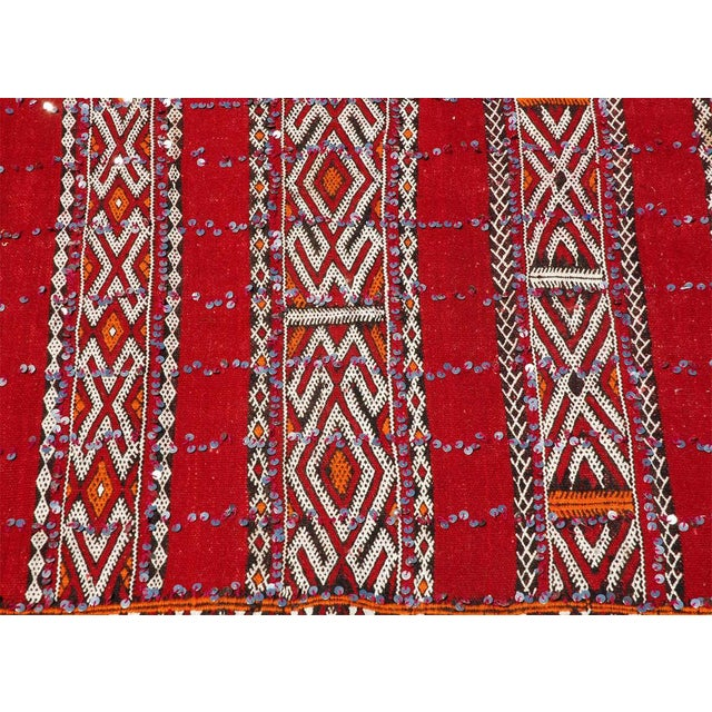 Mid 20th Century Moroccan Tribal Wedding Rug With Sequins North Africa For Sale - Image 5 of 9