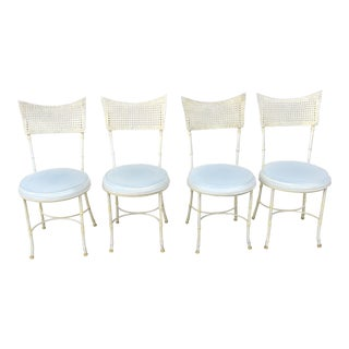 Faux Bamboo and Cane Metal Dining Chairs - Set of 4 For Sale