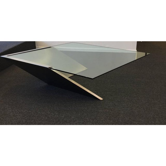 Brushed Stainless Steel and Glass Cocktail Table by Brueton - Image 3 of 9