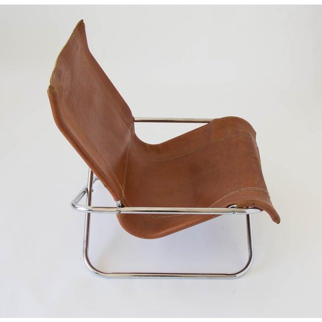 Brown Sueki Uchida Leather Sling Chair For Sale - Image 8 of 9