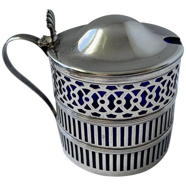 Sterling Silver Mustard Pot With a Cobalt Blue Glass Liner For Sale - Image 9 of 9