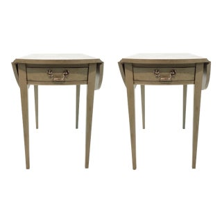 Transitional Hickory Chair Pembroke Taupe Drop Leaf Side Tables Pair For Sale