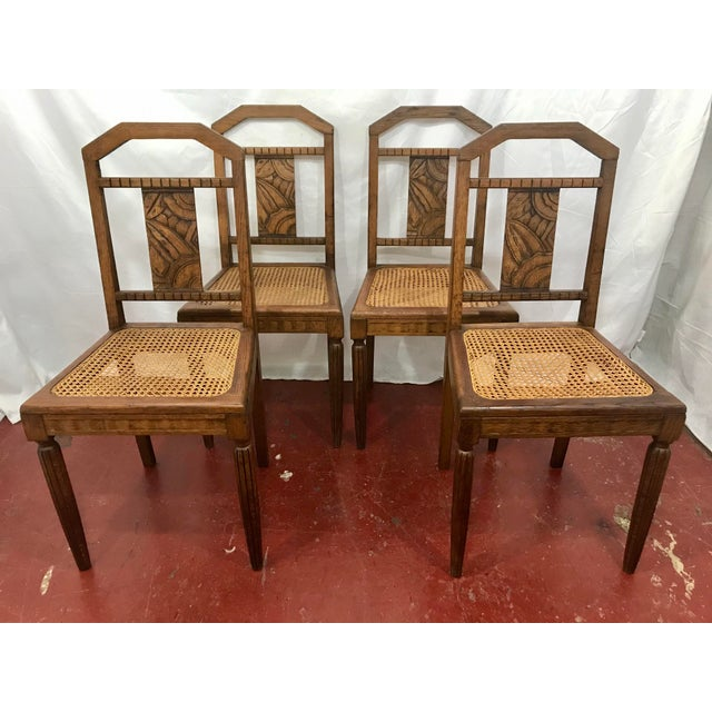 French Oak and Cane Art Deco Dining Chairs For Sale - Image 9 of 9