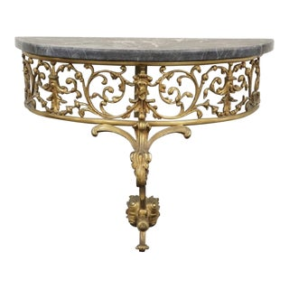 Final Markdown Marble and Bronze Demilune Console Table