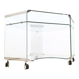 Aquamarine Glass Corner Writing Desk by Gallotti E Radice, Italy, 1970s