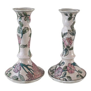 Vintage Famille Rose Floral Pink Candlesticks - a Pair For Sale