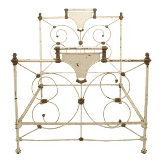 American Victorian Painted Iron Full-size Bedframe For Sale