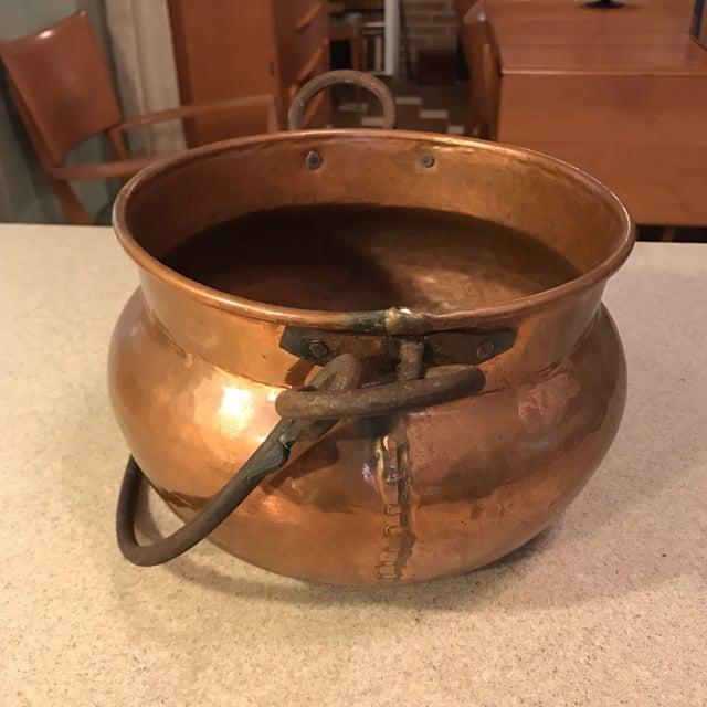 Antique Copper Cauldron Planter For Sale - Image 5 of 11