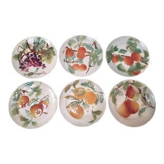 Late 19th Century French Keller & Guerin St. Clement Majolica Porcelain Fruit Motif Salad Plates - Set of 6 For Sale