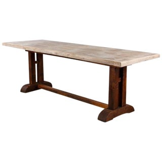 19th Century French Country Oak Trestle Table
