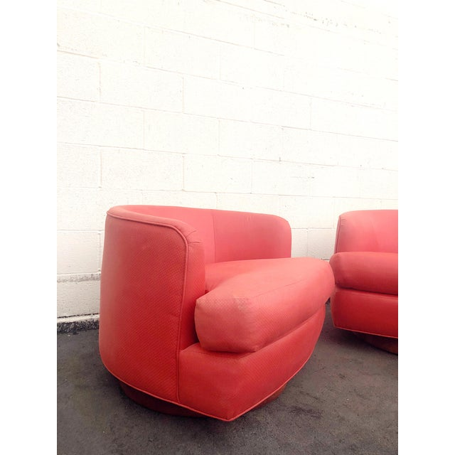 Vintage Milo Baughman Style Custom Swivel Chairs in Original Coral Fabric - a Pair For Sale - Image 4 of 11