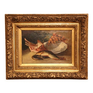 19th Century French Still Life Oil Painting on Board in Carved Gilt Wood Frame For Sale