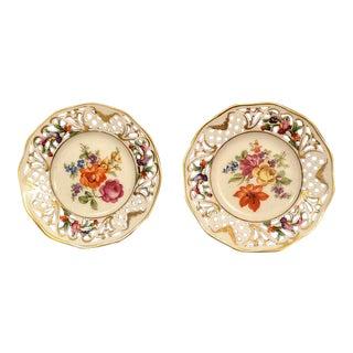 Schumann Bavaria Pierced Rim Small Floral Plates - A Pair