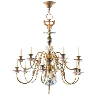 Polychrome Delft Chandelier For Sale