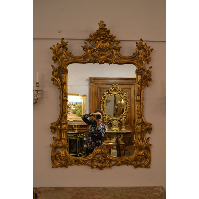 Late 19th Century Antique French 19th Century Rococo Gold Leaf Mirror For Sale - Image 5 of 5