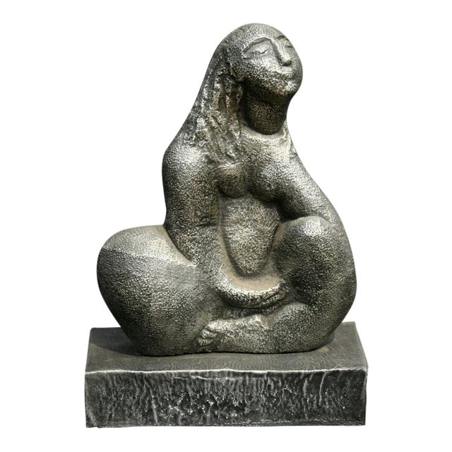Seated Woman, Cast Metal Sculpture by Michael Lord For Sale