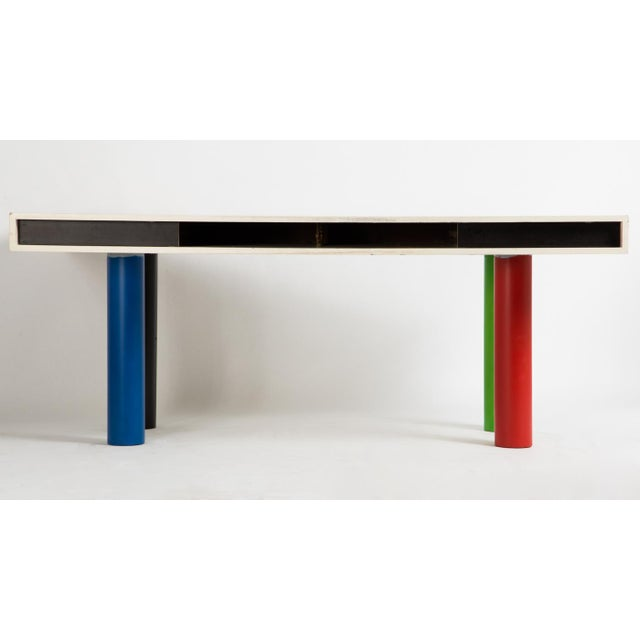 Bernd Zimmermann attributed desk on four colored lacquered metal surfaces. Storage compartment on the underside.