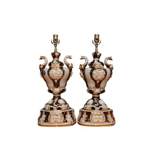 Antique Italian Capodimonte Table Lamps - a Pair For Sale