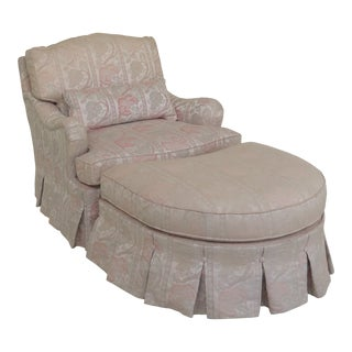 Hickory White Floral Upholstered Club Chair & Ottoman For Sale