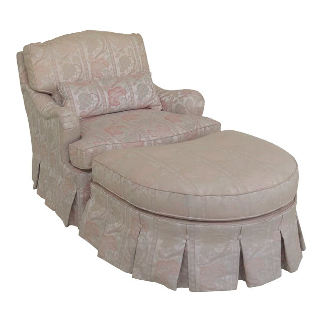 Brilliant Hickory White Floral Upholstered Club Chair Ottoman Dailytribune Chair Design For Home Dailytribuneorg