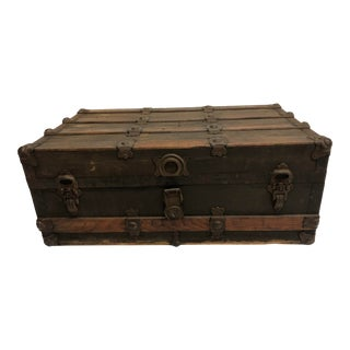 Vintage Industrial Wood Steamer Trunk Chest For Sale