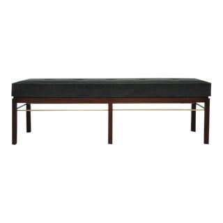 Dunbar Bench by Edward Wormley in Gray Mohair with Brass Stretchers For Sale
