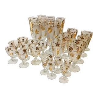 Vintage Libbey Footed Goblet Gold Leaf Glasses - 30 Piece Set For Sale