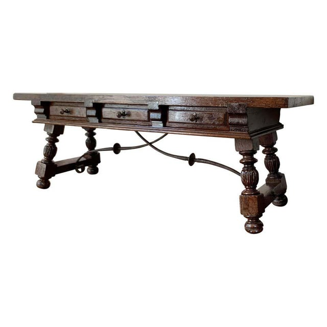 19h Spanish Bench or Low Console Table With Marquetry Drawers and Iron Stretcher For Sale - Image 11 of 11