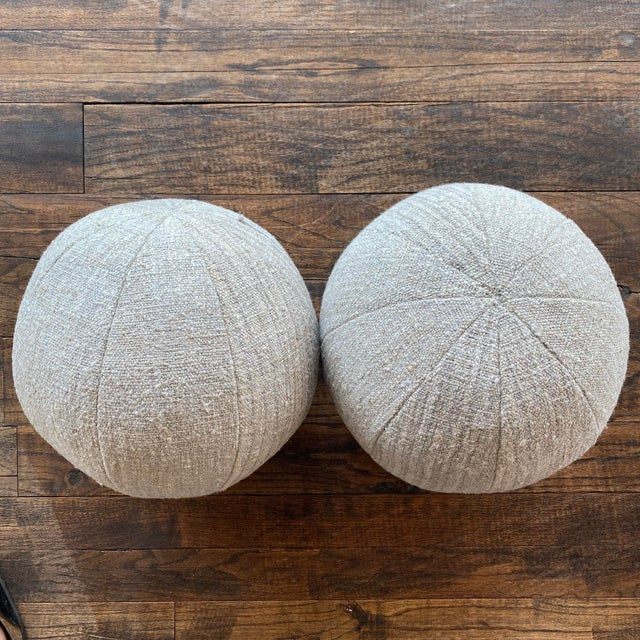 P Newly made Ball pillows made from vintage German linen.