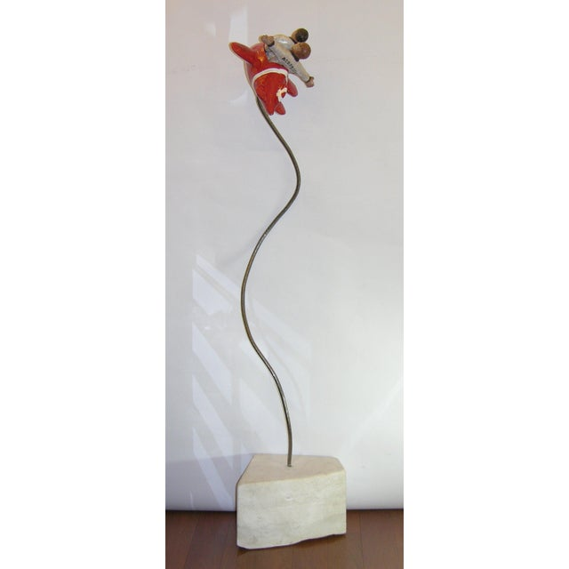 "Giovanni Ginestroni Contemporary Italian ""Flying Guys in Airplane"" Red White Sculpture by Ginestroni For Sale - Image 4 of 8"
