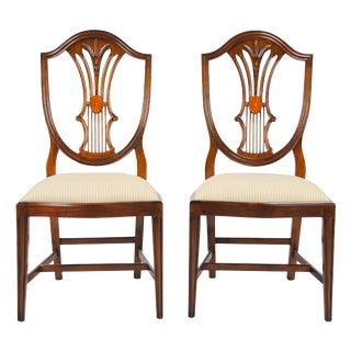 Solid Mahogany Inlaid Shield Back Side Chairs - A Pair For Sale