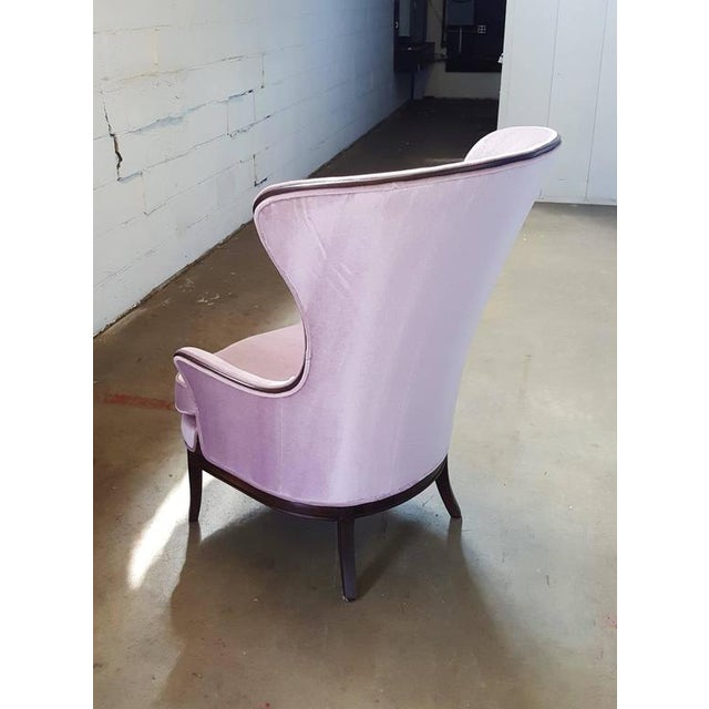 Mid-Century Modern Lilac Mohair & Mahogany Wingback Chair - Image 5 of 8